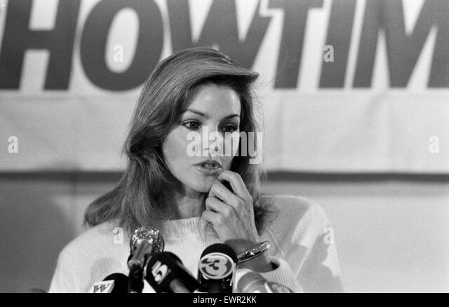 Priscilla Presley, Chairwoman of Elvis Presley Enterprises, pictured at news press conference to promote Elvis Presley - Stock Image