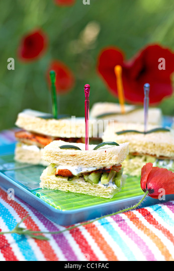 Indian Style Chicken and Cucumber Sandwich - Stock-Bilder