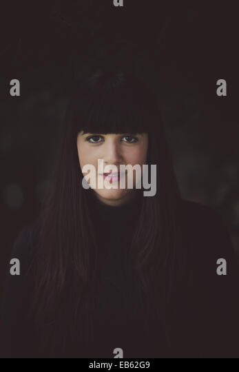 a dark session in a forest - Stock Image