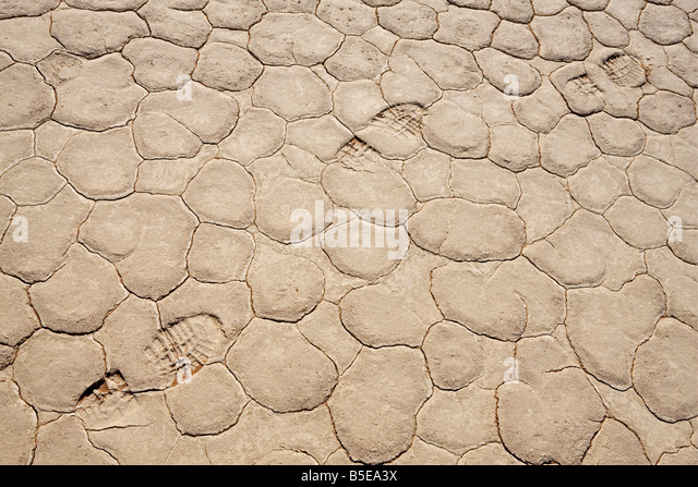 Africa, Namibia, Namib Desert, Shoe imprint, close-up, full frame, elevated view - Stock Image