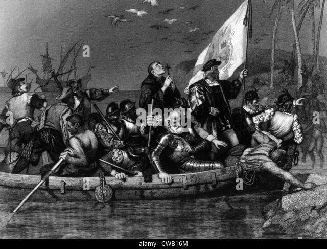 Christopher Columbus landing in the New World, engraving from 1881 - Stock-Bilder