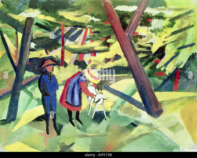 """fine arts, Macke, August, (1887 - 1914), painting, ""Kinder mit Ziege im Wald"", (""children with - Stock Image"