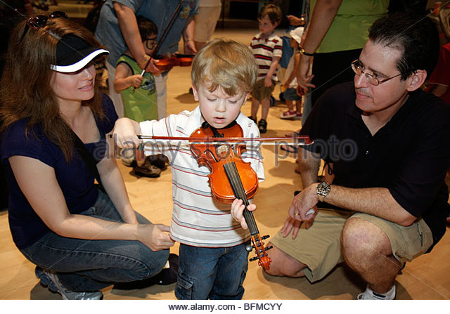 Miami Florida Adrienne Arsht Performing Arts Center centre Family Fest Instrument Discovery music hands on art education - Stock Image