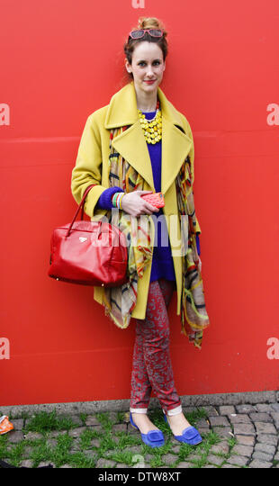 Stylist Alessandra Bettoni arriving at the Costume National runway show in Milan - Feb 20, 2014 - Photo: Runway - Stock Image