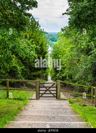 Steep pathway down to the River Thames at Cliveden, Buckinghamshire, UK - Stock Image