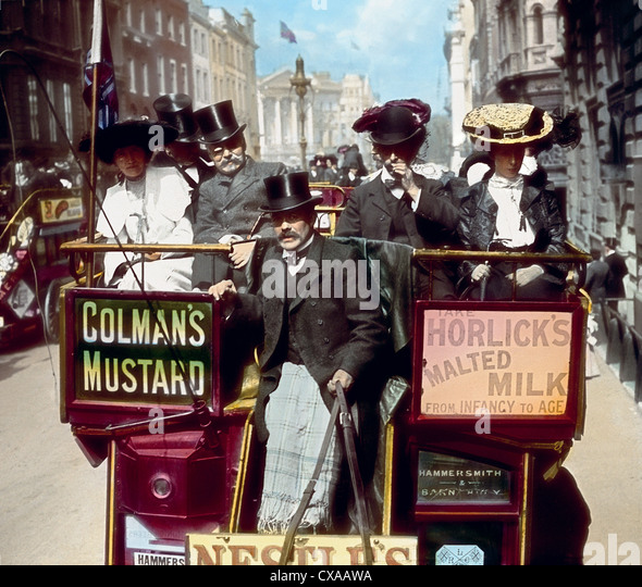 Traffic Jam, Westminster Bridge, London, England, 1897 - Stock Image