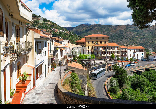the medieval town of savoca high in the peloritani mountains near messina on the island of sicily, italy. - Stock Image