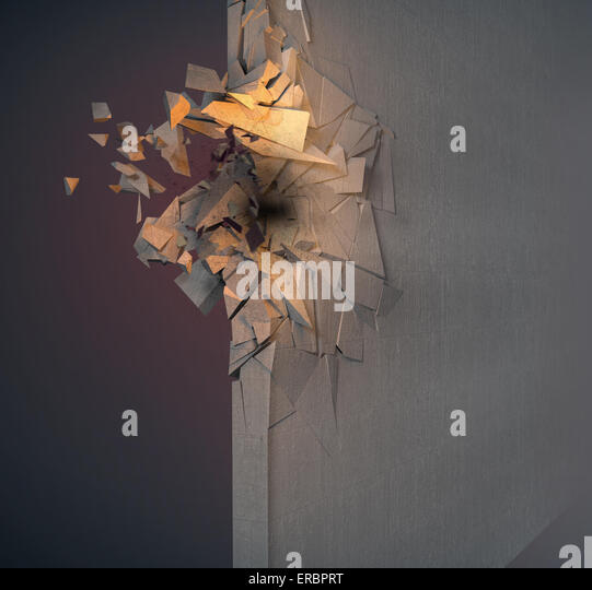 Image of crushed concrete wall - Stock Image