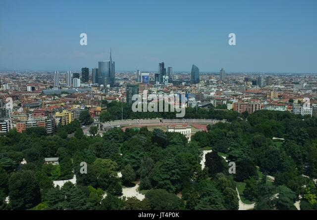 View from the Torre Branca (Branca Tower) towards the commercial district, Parco Sempione, Milan, Lombardy, Italy, - Stock Image