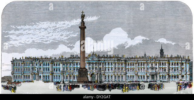 Alexander's column, honoring Tsar Alexander I, outside the Winter Palace, St Petersburg, Russia, 1880s. - Stock Image