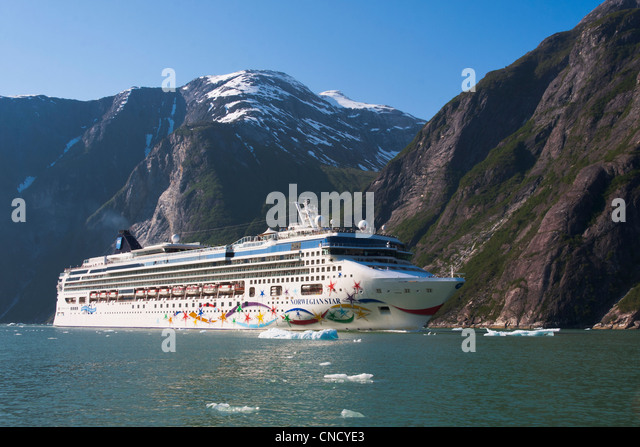View Norwegian Star cruise ship in Tracy Arm with ice bergs in foreground, Stephens Passage, Southeast Alaska, Summer - Stock Image