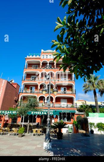 Hotel Casablanca, Plaza de San Cristóbal, Almunecar, Granada, Andalusia. Spain - Stock Image