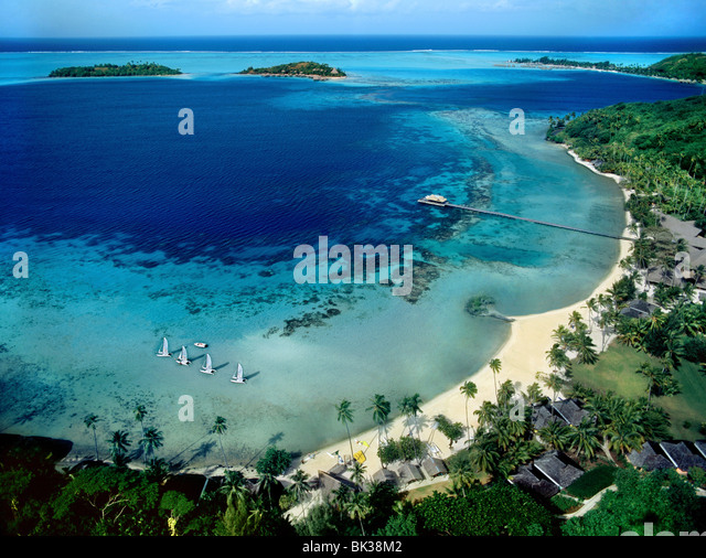 Beach view on Bora Bora, Society Islands, French Polynesia, South Pacific, Pacific - Stock Image