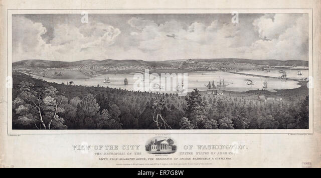 View of the city of Washington, the metropolis of the United States of America, taken from Arlington House, the - Stock Image