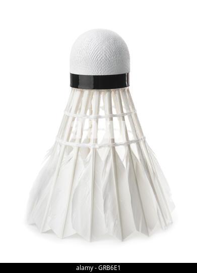 White badminton feather shuttlecock isolated on white - Stock Image