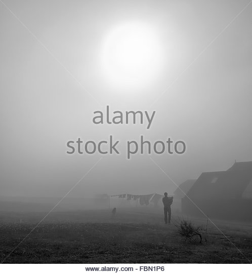 Silhouette Father With Children On Grassy Field In Foggy Weather - Stock-Bilder