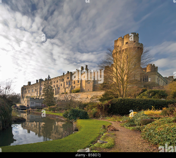 A view of Warwick Castle and the River Avon Warwick Warwickshire England United Kingdom Europe - Stock Image