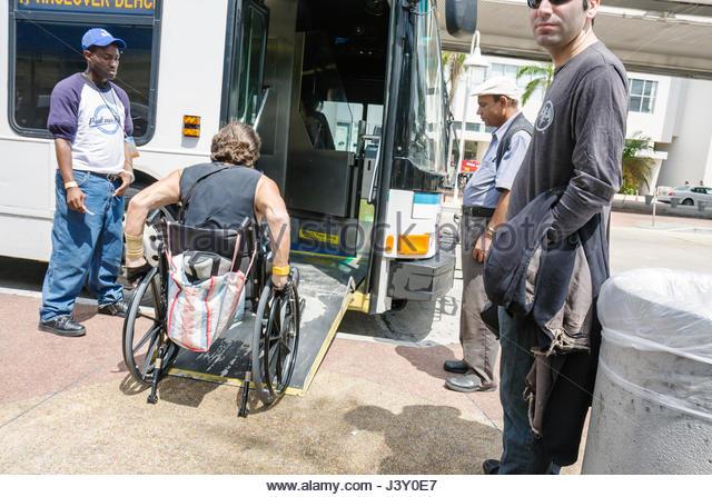 Miami Florida Omni Station Metrobus bus mass transit public transportation accessibility disabled wheelchair ramp - Stock Image