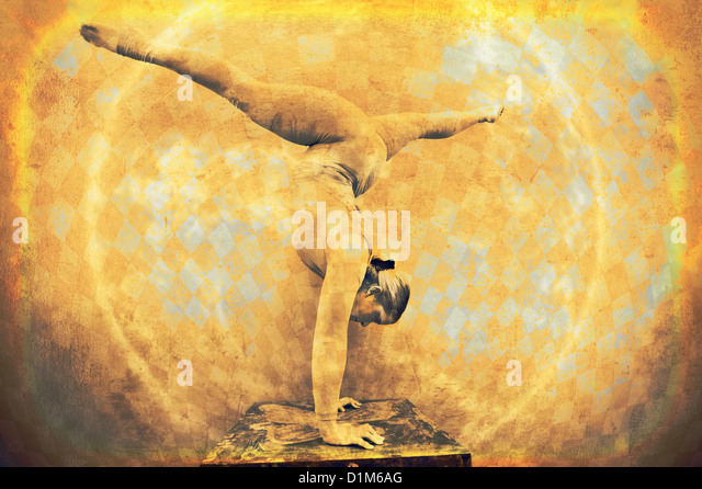 Female acrobat in a circular handstand. Photo based mixed medium image. - Stock Image