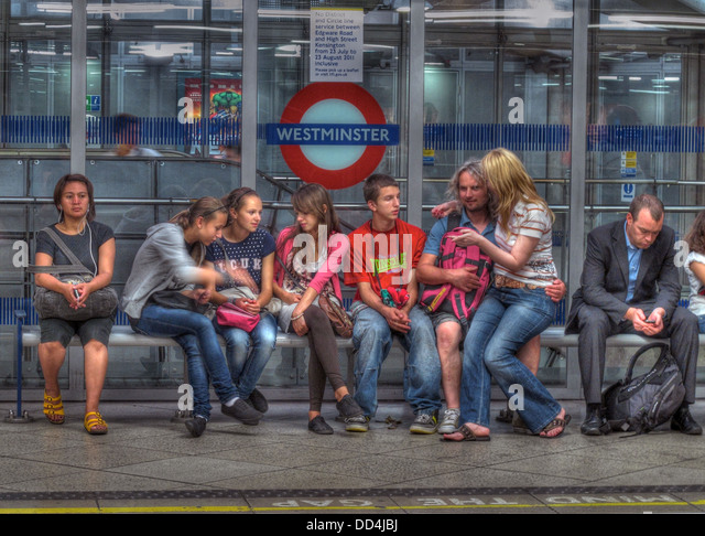 On Westminster Tube Station, London, England UK - Stock Image