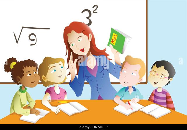 A vector illustration of kids studying math in classroom with teacher - Stock-Bilder