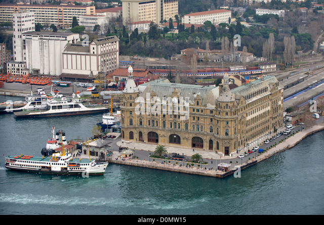 Aerial view of Haydarpaşa Train Station Istanbul Turkey - Stock Image