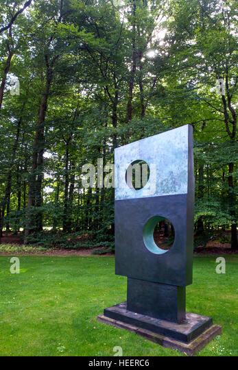 Square with Two Holes, by Barbara Hepworth, 1963, Kroller-Muller Museum, Hoge Veluwe National Park, Otterlo, Netherlands, - Stock Image