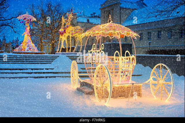 Outdoor Winter Christmas Decoration, Warsaw, Poland - Stock Image