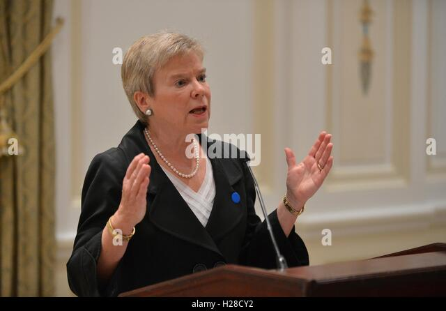 Under Secretary for Arms Control and International Security Rose Gottemoeller speaks at the reception for the Global - Stock Image