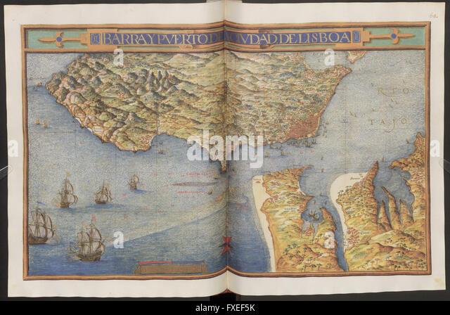 Cod. Min. 46, fol. 67v u. 68r: Descripcion de Espana: Karte von Barra und dem Hafen von Lissabon - Stock Image