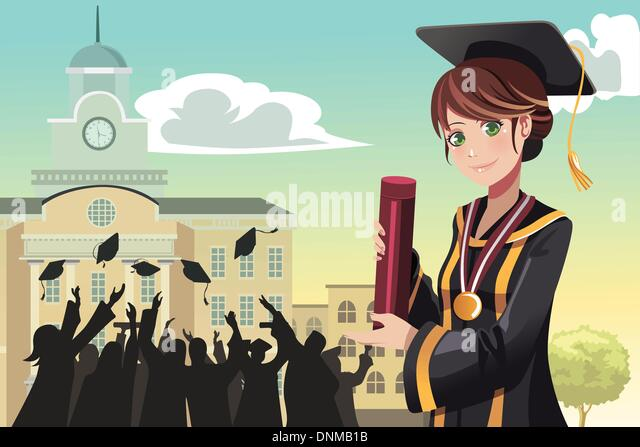 A vector illustration of a graduation girl holding her diploma with her friends in the background - Stock-Bilder
