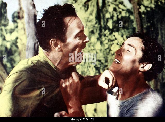 Schrei Des Gejagten  Cry Hunted  Barry Sullivan, Vittorio Gassman Als der Gefangene Jory (Vittorio Gassman, r) vor - Stock Image