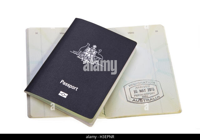 Australian Passports stamped Airport, Travel - Stock Image