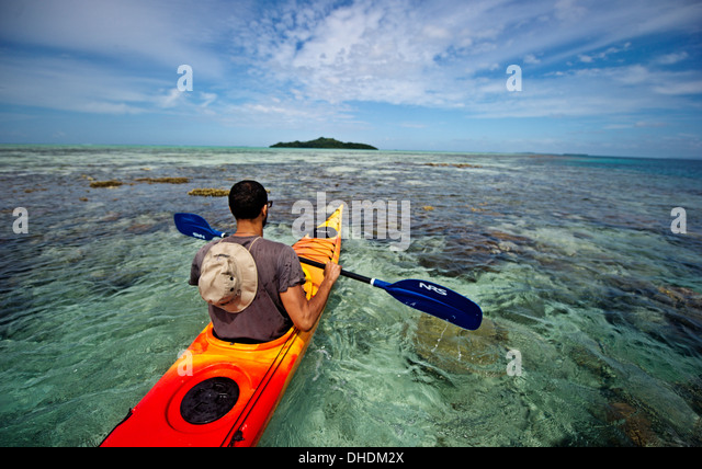 Kayaking in the Raja Ampat Islands, West Papua, Indonesia, New Guinea, Southeast Asia, Asia - Stock Image