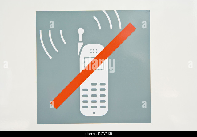 Sign prohibiting use of cell phones - Stock Image