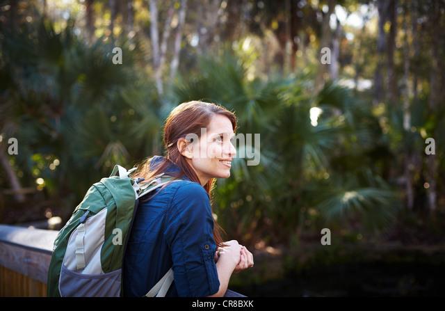 Female tourist in Costa Rica jungle - Stock-Bilder