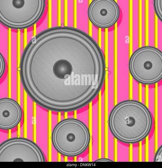 Speakers seamless background. Vector illustration. - Stock Image