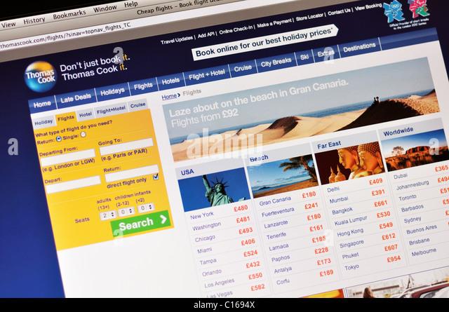 Thomas Cook travel website - Stock-Bilder