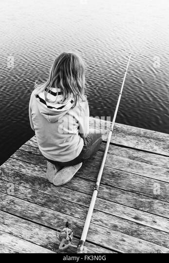 Child fishing black and white stock photos child fishing for Little girl fishing pole