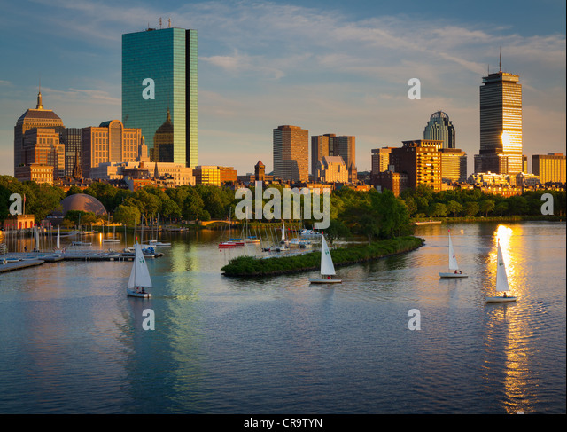 Boston and the Charles River as seen from Longfellow Bridge. - Stock Image