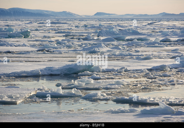 Pack-ice drifting in fjord - Stock Image