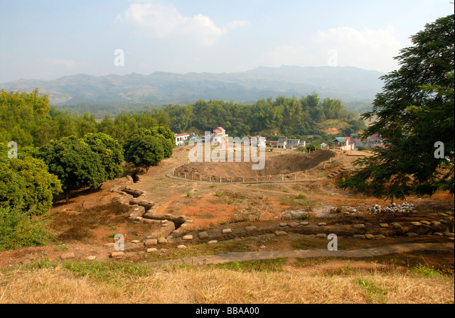 First Indochina war 1954, battlefield with trenches and a large bomb crater on the Mt A1, Dien Bien Phu, Vietnam, - Stock Image