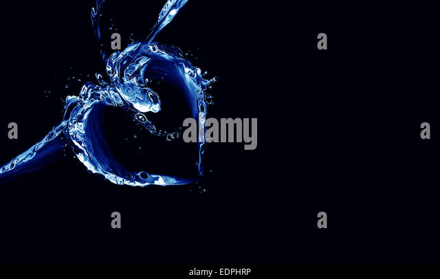 A heart made of blue liquid on black. - Stock Image