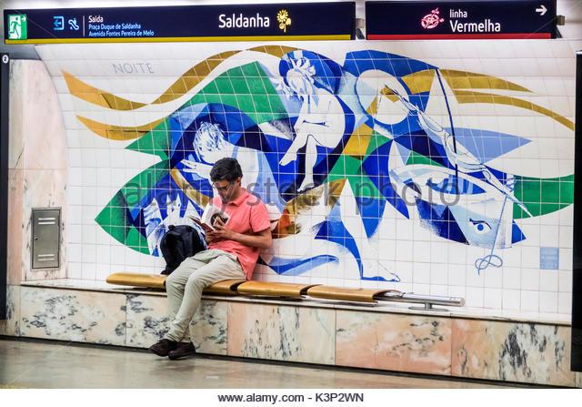 Lisbon Portugal Metro de Lisboa metro subway public transportation mass transit Saldanha station platform public - Stock Image