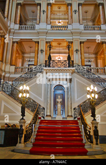 Rio de Janeiro Biblioteca National national library biggest library of Latin America entrance lobby - Stock Image