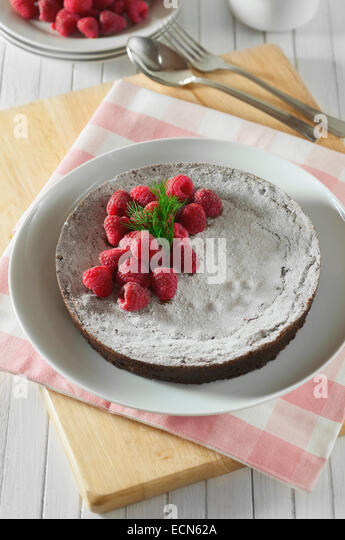 Kladdkaka. Sticky Swedish chocolate cake. Sweden Food - Stock Image