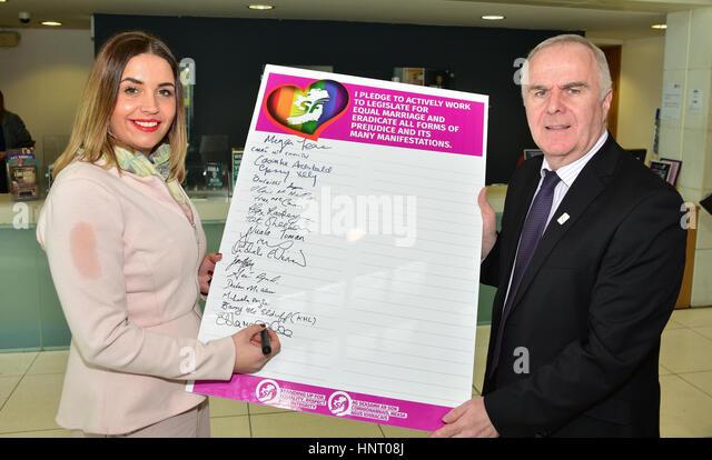 Armagh City, UK. 15th February 2017. Foyle Sinn Féin Election Candidates Elisha McCallion and Raymond McCartney - Stock Image
