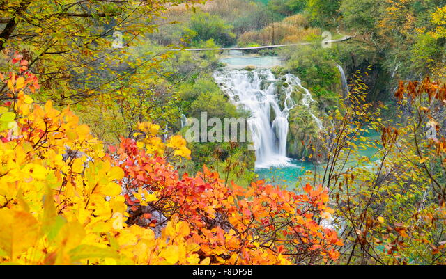 Waterfall in Plitvice Lakes National Park, autumn landscape, Croatia, UNESCO - Stock Image