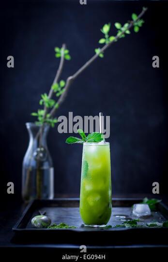 Mint iced matcha green tea - Stock Image