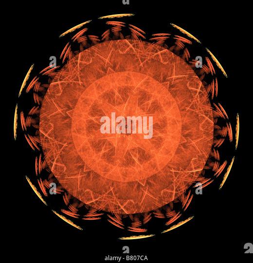 A disk fractal on a black background - Stock Image